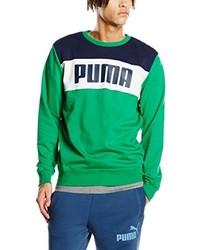 Pull à col rond vert Puma