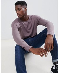 Pull à col rond violet clair Selected Homme