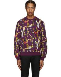 Pull à col rond violet Versace