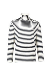 Pull à col roulé à rayures horizontales blanc et noir Loewe