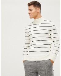Pull à col roulé à rayures horizontales blanc et noir New Look