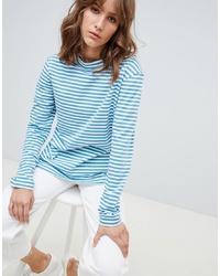 Pull à col roulé à rayures horizontales bleu clair MiH Jeans