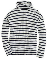 Pull à col roulé à rayures horizontales bleu marine et blanc
