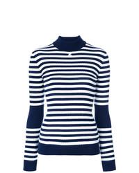 Pull à col roulé à rayures horizontales bleu marine et blanc Courreges