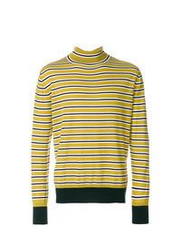 Pull à col roulé à rayures horizontales jaune