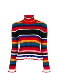 Pull à col roulé à rayures horizontales multicolore MSGM