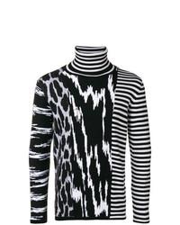 Pull à col roulé à rayures horizontales noir et blanc Givenchy