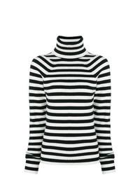 Pull à col roulé à rayures horizontales noir et blanc Haider Ackermann