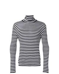 Pull à col roulé à rayures horizontales noir et blanc Saint Laurent