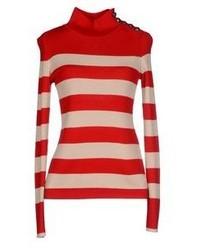 Pull à col roulé à rayures horizontales rouge et blanc