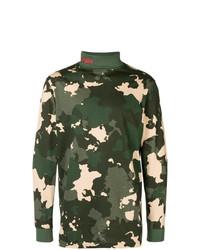 Pull à col roulé camouflage vert foncé 032c