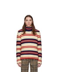 Pull à col roulé en laine à rayures horizontales blanc Gucci
