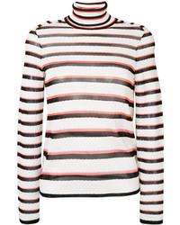 Pull à col roulé en laine à rayures horizontales blanc Missoni