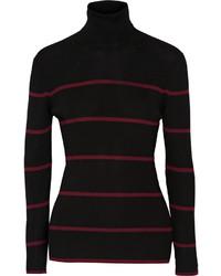 Pull à col roulé en laine à rayures horizontales noir Fendi