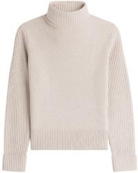 Pull à col roulé en laine beige
