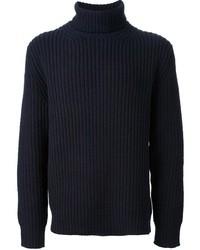 Pull à col roulé en laine bleu marine