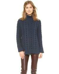 Pull à col roulé en laine bleu marine 525 America