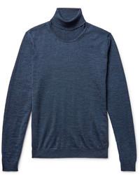 Pull à col roulé en laine bleu marine Hugo Boss