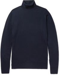 Pull à col roulé en laine bleu marine John Smedley