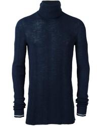 Pull à col roulé en laine bleu marine Lanvin