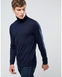 Pull à col roulé en laine bleu marine Paul Smith