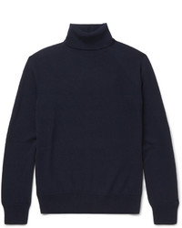 Pull à col roulé en laine bleu marine Saint Laurent