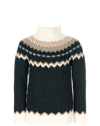 Pull à col roulé en laine en jacquard bleu marine Valentino