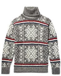 Pull à col roulé en laine en jacquard gris Thom Browne