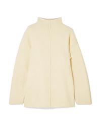 Pull à col roulé en laine en tricot beige
