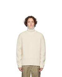 Pull à col roulé en laine en tricot beige Joseph