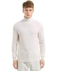 Pull à col roulé en laine en tricot blanc