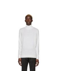 Pull à col roulé en laine en tricot blanc BOSS