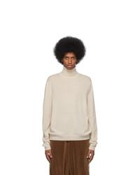 Pull à col roulé en laine en tricot blanc Gucci