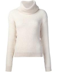 Pull à col roulé en laine en tricot blanc Maiyet
