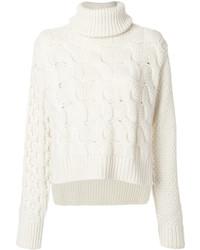 Pull à col roulé en laine en tricot blanc MM6 MAISON MARGIELA