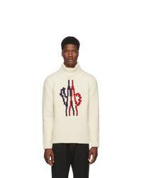 Pull à col roulé en laine en tricot blanc Moncler Genius