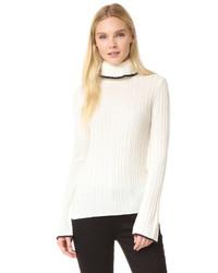 Pull à col roulé en laine en tricot blanc MSGM