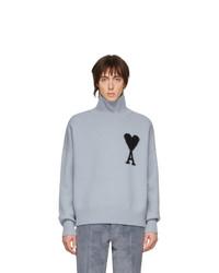 Pull à col roulé en laine en tricot bleu clair AMI Alexandre Mattiussi