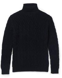 Pull à col roulé en laine en tricot bleu marine