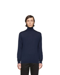 Pull à col roulé en laine en tricot bleu marine Lanvin