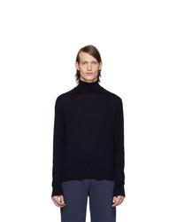 Pull à col roulé en laine en tricot bleu marine Thom Browne