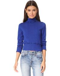 Pull à col roulé en laine en tricot bleu