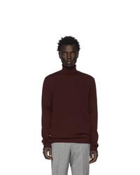 Pull à col roulé en laine en tricot bordeaux Hugo