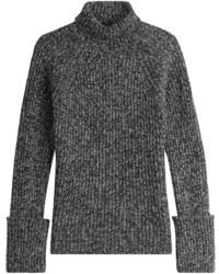 Pull à col roulé en laine en tricot gris foncé