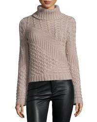 Pull à col roulé en laine en tricot gris