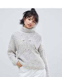 Pull à col roulé en laine en tricot gris Asos Petite