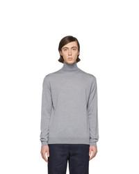 Pull à col roulé en laine en tricot gris Lanvin