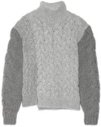 Pull à col roulé en laine en tricot gris Stella McCartney