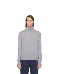 Pull à col roulé en laine en tricot gris Thom Browne
