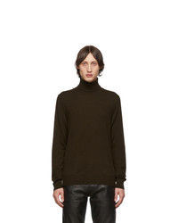 Pull à col roulé en laine en tricot marron foncé
